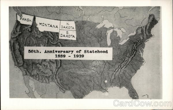 50th. Anniversary of Statehood 1889-1939 Maps