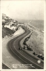 Roosevelt Highway and Beach - Santa Monica, Cal. Postcard