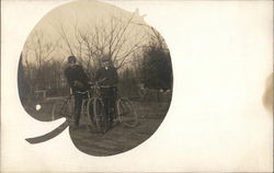 Two gentlemen with bicycles Apple Vignette Postcard