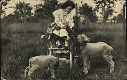 Girl in a Cart Feeding Lambs
