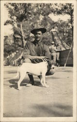Soldier Posing with Dog