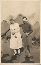 Soldier and Lady Posing in Camp