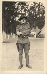 Soldier Posing in Camp