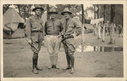 Three Soliders Posing in Camp
