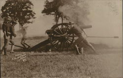 Soliders Near Just-Fired Cannon