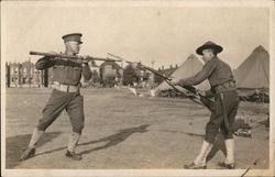 Soldiers Sparring in Camp