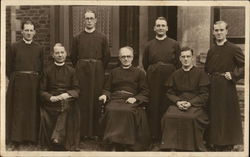 Priests pose in clergy robes - circa 1940 Postcard
