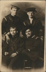 Four WWI Sailors pose for Bachelor Studio
