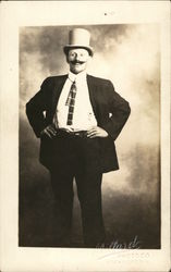 Happy Mustachioed Man Posing in a Top Hat