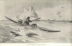 an Eskimo on his kayak