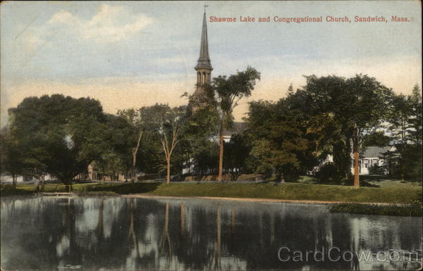 Shawme Lake and Congregational Church Sandwich Massachusetts