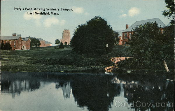 Perry's Pond showing Seminary Campus East Northfield Massachusetts