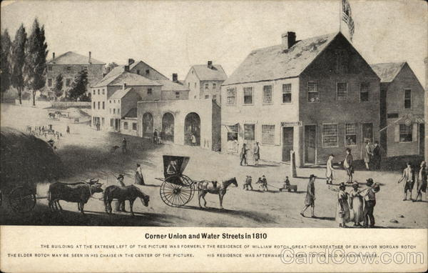 Corner Union and Water Streets in 1810 New Bedford Massachusetts