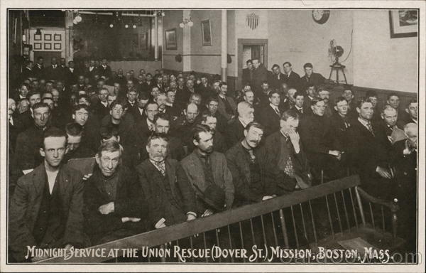 Midnight Service at the Union Rescue Mission, Dover Street Boston Massachusetts