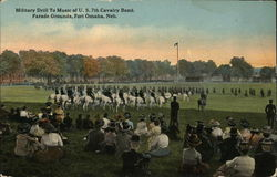 Military Drill To Music of U.S. 7th Cavalry Band, Parade Grounds