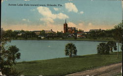 View across Lake Eola toward Town