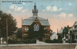 Morse Institute and D.A.R. Memorial Stone Postcard