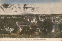 Birds Eye View of Winchendon and Monadnock Mountain Postcard