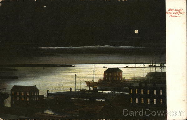 Moonlight on New Bedford Harbor Massachusetts