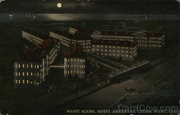 Night scene, Hotel Breakers Cedar Point Ohio