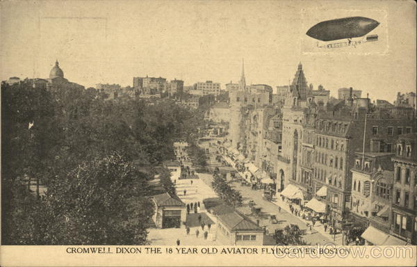 Cromwell Dixon, the 18-year-old aviator flying over Boston Massachusetts