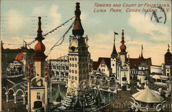 Towers and Court of Foundains, Luna Park Coney Island New York