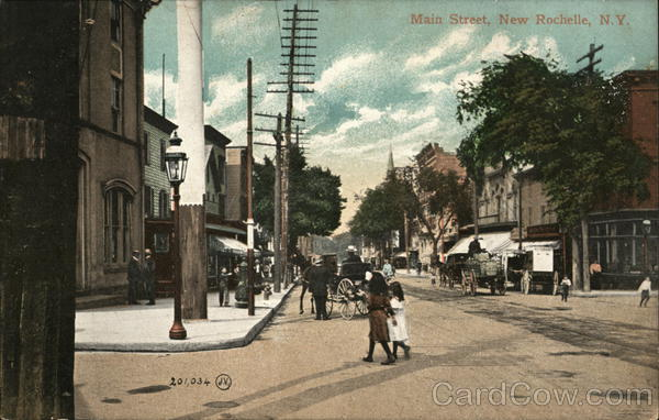 main street new rochelle ny early 1900 39 s new york postcard. Black Bedroom Furniture Sets. Home Design Ideas
