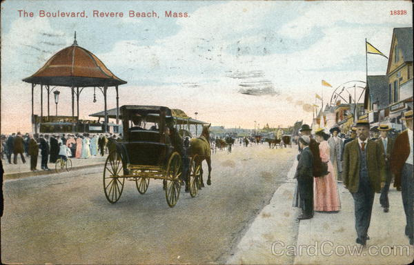The Boulevard with horse-drawn buggy Revere Beach Massachusetts