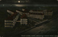 Night scene, Hotel Breakers Postcard