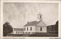 Congregational Church and Grange Hall Postcard