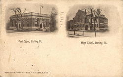 Post Office and High School Postcard