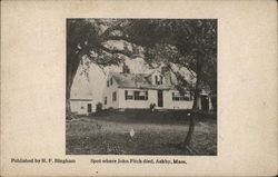 White house with shutters - Spot where John Fitch died Postcard