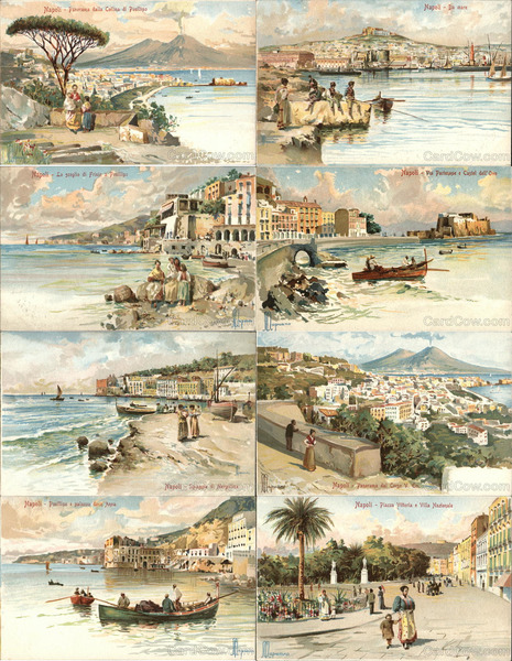 Set of 8: Views of Naples Italy