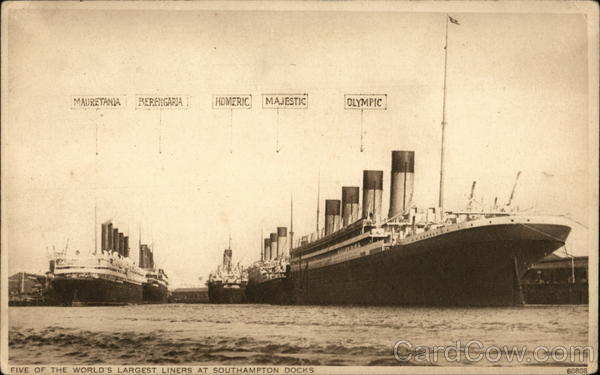 Five of the World's Largest Liners at Southampton Docks