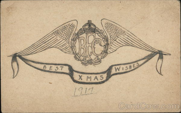Royal Flying Corps Best Xmas Wishes 1917 Hand Drawn