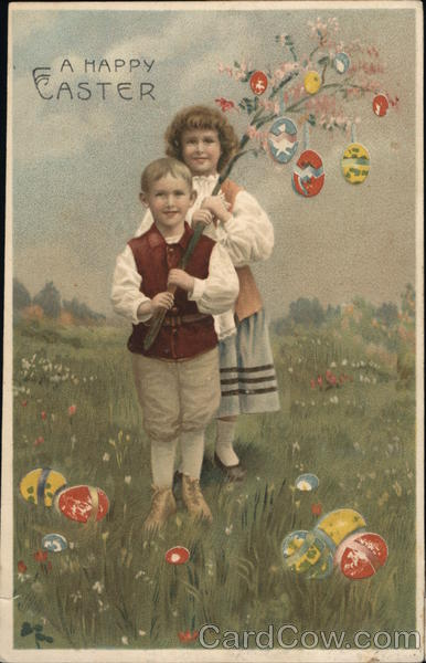 A Happy Easter With Children Hold To Light