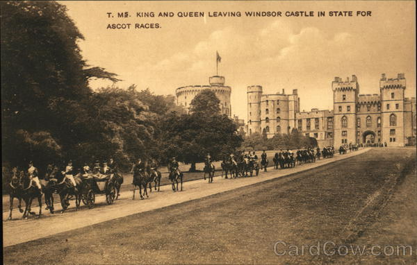 King and Queen Leaving Windsor Castle in State for Ascot Races England