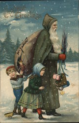 Green Robed Santa and Children