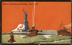 Statue of Liberty and Harbor - Art Deco