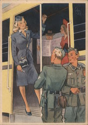 Woman Train Conductor, German Soldiers Postcard