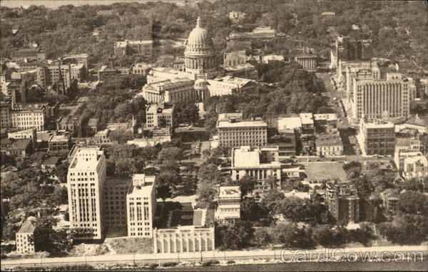 Aerial View showing Center of City and State Capitol Madison Wisconsin