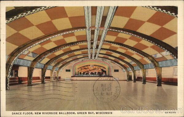 Dance Floor New Riverside Ballroom Green Bay Wi Postcard