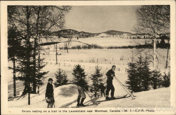 Skiers Resting on a Trail in the Laurentians Montreal Canada