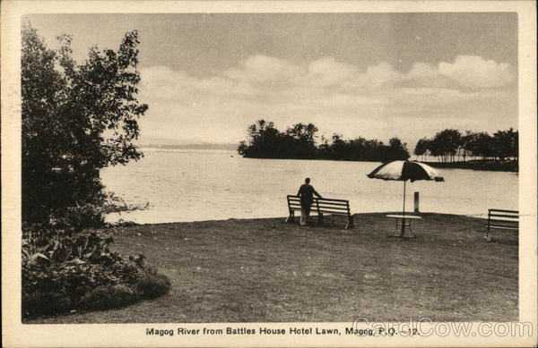 Magog River from Battles House Hotel Lawn QC Canada