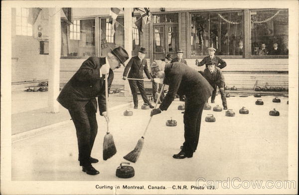 Curling, Two Men with Brooms Montreal Canada Quebec