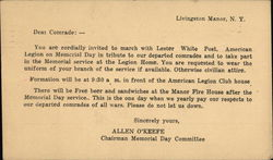 American Legion Lester White Post Memorial Day Invitation Postcard