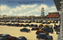 Cars are Parked Right on the Hard-Packed Sands Postcard