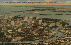 Downtown Miami, showing Miami River and Biscayne Bay