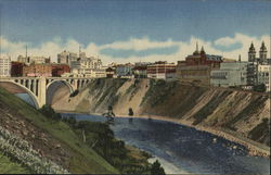 Skyline and Business Section, Showing the Spokane River