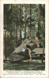 "Students Repair a Camouflaged Plane in ""Guadalcanal"""